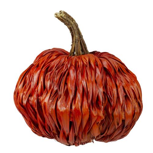 "8.5"" Orange Autumn Harvest Woven Pumpkin Decoration - IMAGE 1"
