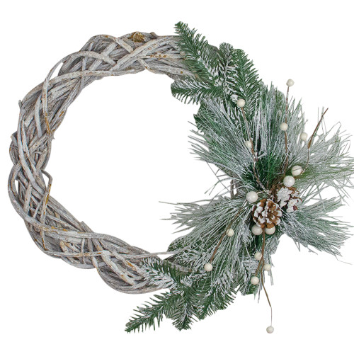 Frosted Pine Cone and Foliage Artificial Christmas Twig Wreath - 15 Inch, Unlit - IMAGE 1