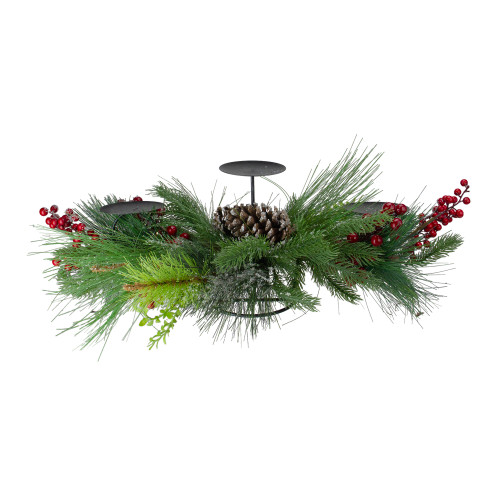 """32"""" Iced Mixed Pine, Berries and Pine Cones Christmas Pillar Candle Holder - IMAGE 1"""