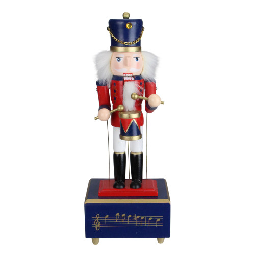 """12"""" Red and Black Animated Musical Christmas Nutcracker Drummer Tabletop Figurine - IMAGE 1"""