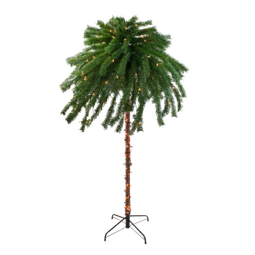 6' Pre-Lit Tropical Artificial Palm Tree - Clear Lights - IMAGE 1
