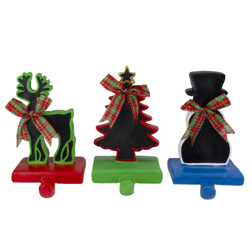 """Set of 3 Reindeer, Tree, and Snowman with Chalkboard Christmas Stocking Holders 7"""" - IMAGE 1"""