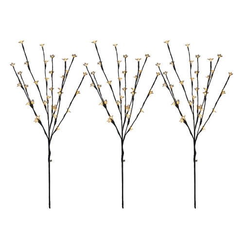 Set of 3 Pre-Lit Cherry Blossom Artificial Tree Branches 2.5' - Warm White LED Lights - IMAGE 1