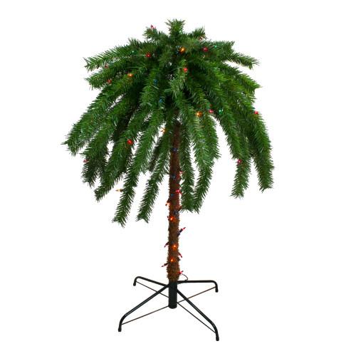 4' Pre-Lit Artificial Tropical Outdoor Patio Palm Tree - Multicolor Lights - IMAGE 1