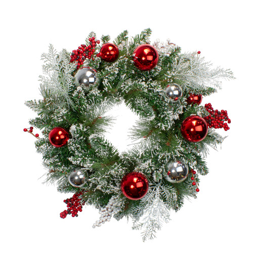 Flocked Mixed Pine with Ornaments and Berries Artificial Christmas Wreath - 24-Inch, Unlit - IMAGE 1