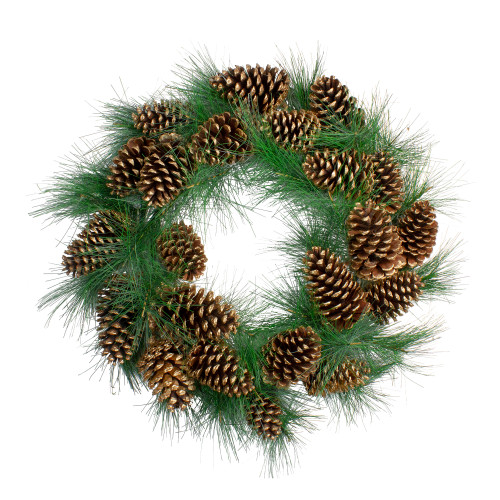 Long Needle Pine and Pine Cone Artificial Christmas Wreath - 24-Inch, Unlit - IMAGE 1