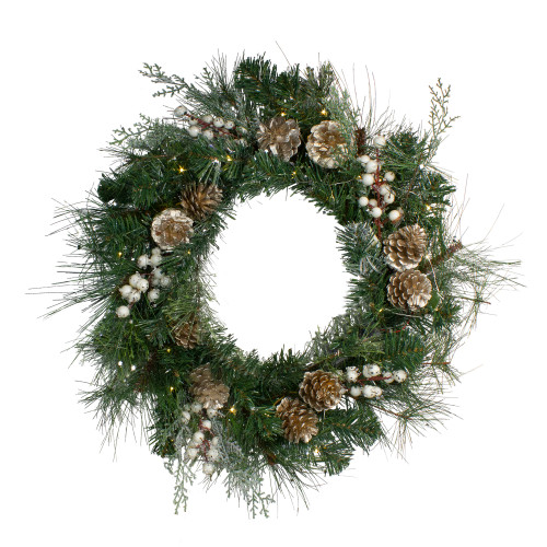 Pre-Lit Champagne Gold Pine Cone and Berry Mixed Pine Wreath - 22-Inch, Clear Lights - IMAGE 1
