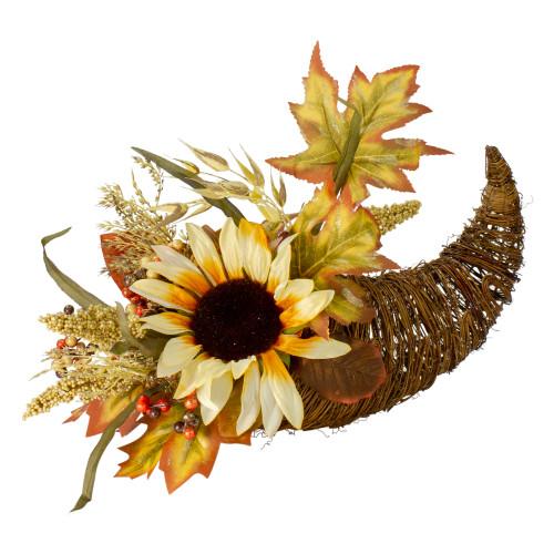 "12"" Fall Harvest Sunflower and Pumpkin Cornucopia Decoration - IMAGE 1"