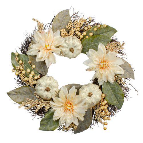 Dahlia and Pumpkin Artificial Floral Wreath, White 22-Inch - IMAGE 1