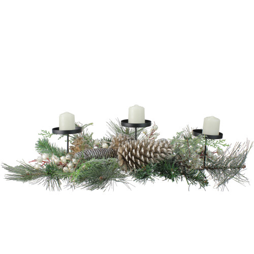 """24"""" Long Needle Pine and Berries Christmas Candle Holder - IMAGE 1"""