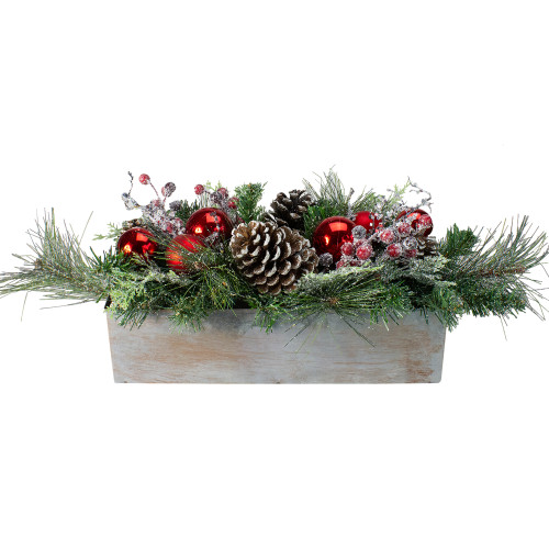 """26"""" Mixed Pine, Ornament, Pine Cone and Berry Artificial Christmas Arrangement in Galvanized Planter - IMAGE 1"""