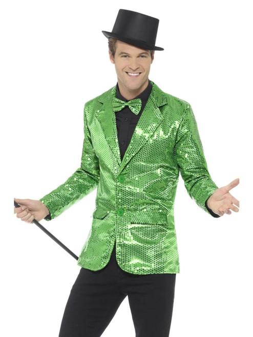 """48"""" Green Sequin Jacket Men Adult Halloween Costume - XL - IMAGE 1"""