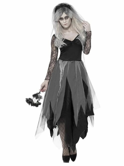 "40"" Black and Gray Graveyard Bride Women Adult Halloween Costume - Large - IMAGE 1"