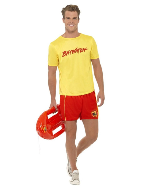 "38"" Yellow and Red Baywatch Beach Men Adult Halloween Costume - Medium - IMAGE 1"