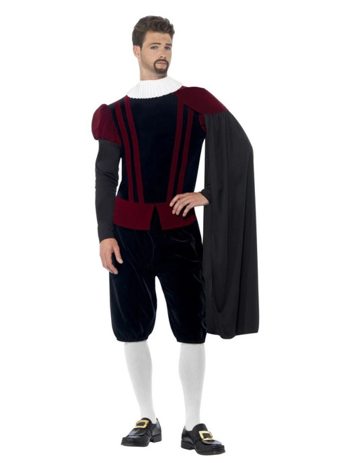 """42"""" Black and Red Deluxe Tudor Lord Men Adult Halloween Costume - Large - IMAGE 1"""
