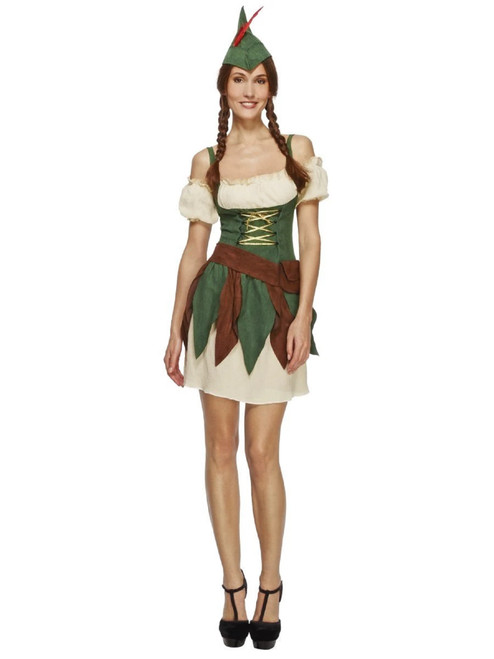 """50"""" Green and Cream White Fever Outlaw Warrior Women Adult Halloween Costume - Small - IMAGE 1"""