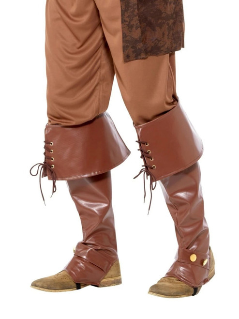 """42"""" Brown Pirate Deluxe Men Adult Halloween Boot Covers Costume Accessory - One Size - IMAGE 1"""