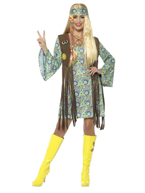"""50"""" Brown and Green 1960's Style Hippie Chick Women Adult Halloween Costume - X1 - IMAGE 1"""