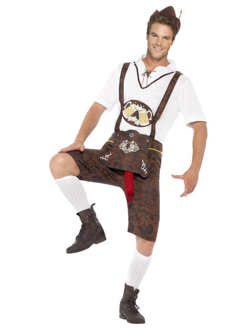 """49"""" White and Brown Brad Wurst Men Adult Halloween Costume - XL - IMAGE 1"""