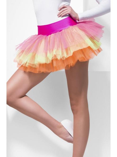"33"" Pink and Orange Tutu Underskirt Women Adult Halloween Costume - One Size - IMAGE 1"