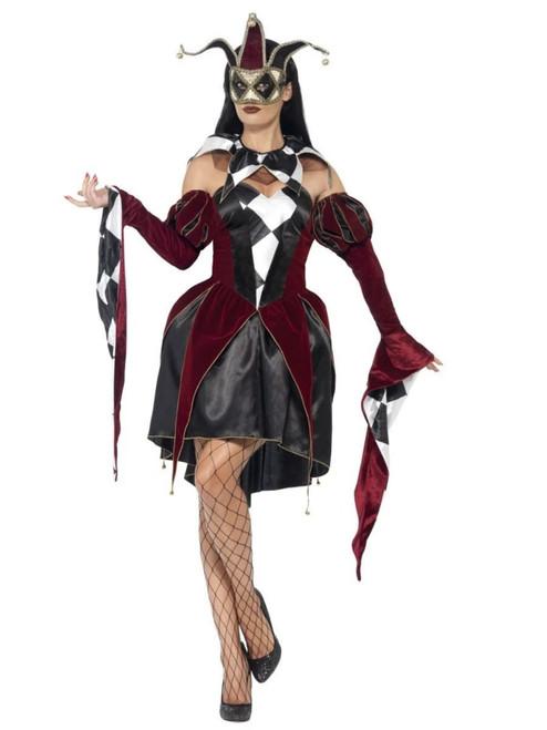 """48"""" Black and White Gothic Venetian Harlequin Women Adult Halloween Costume - Medium - IMAGE 1"""