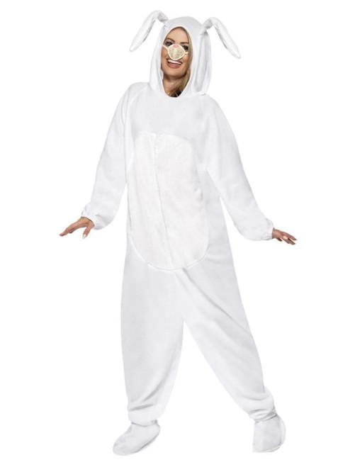 "42"" White Rabbit Unisex Adult Halloween Costume with Nose - Large - IMAGE 1"