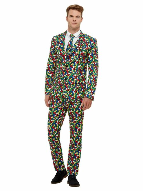 "40"" Vibrantly Colored Rubik's Cube Suit Men Adult Halloween Costume - Medium - IMAGE 1"