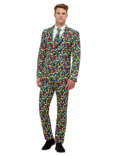 """40"""" Vibrantly Colored Rubik's Cube Suit Men Adult Halloween Costume - Large - IMAGE 1"""