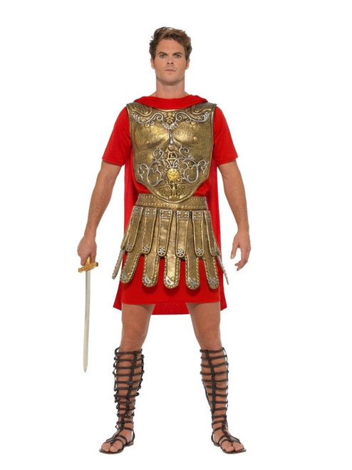 """42"""" Gold and Red Economy Roman Gladiator Men Adult Halloween Costume - Large - IMAGE 1"""