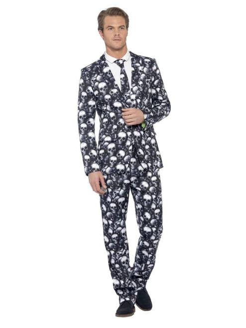 "38.5"" Black and White Skeleton Suit Men Adult Halloween Costume - Large - IMAGE 1"