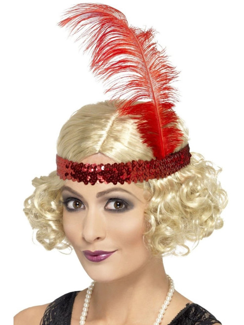 """26"""" Blonde Ivory and Red 1920's Style Charleston Women Adult Halloween Curly Wig Costume Accessory - One Size - IMAGE 1"""