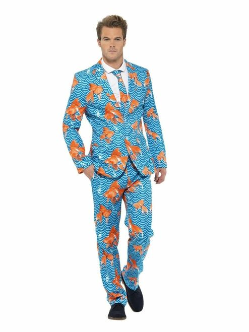 "38.5"" Blue and Orange Goldfish Suit Men Adult Halloween Costume - XL - IMAGE 1"