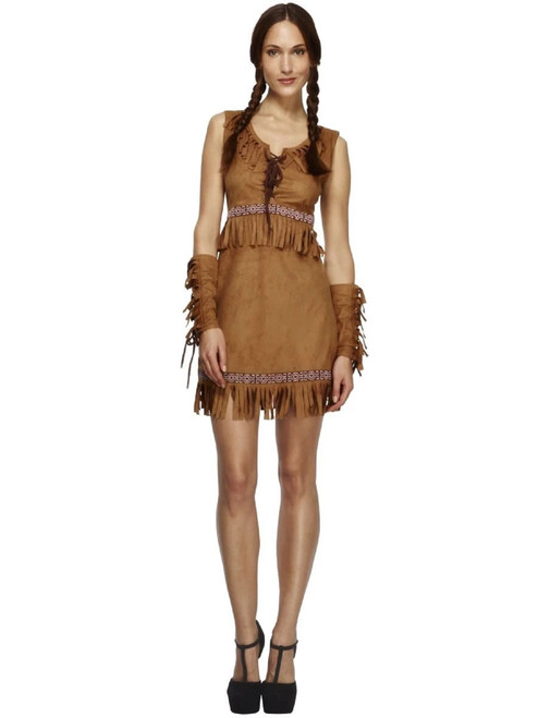 """49"""" Brown Fever Pocahontas Women Adult Halloween Costume - Small - IMAGE 1"""