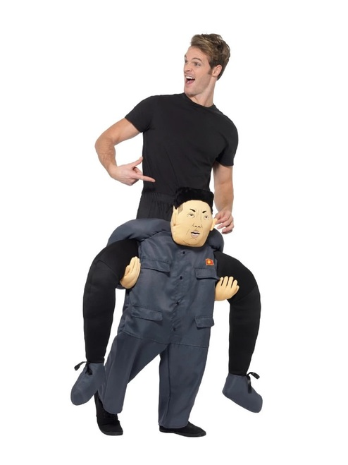 """40"""" Gray and Black Piggyback Dictator Funny Unisex Adult Halloween Costume - One Size - IMAGE 1"""