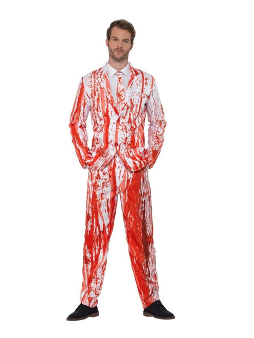 """38.5"""" White and Red Blood Drip Suit Men Adult Halloween Costume - XL - IMAGE 1"""