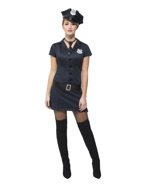 "50"" Black Fever Naughty Cop Women Adult Halloween Costume - Small - IMAGE 1"