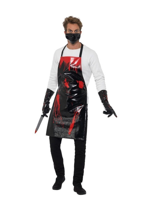 """48"""" Black and Red Bloody Men Adult Halloween Surgeon Kit Costume Accessory - One Size - IMAGE 1"""