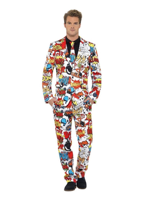 """38.5"""" Red and White Comic Strip Suit Men Adult Halloween Costume - Large - IMAGE 1"""