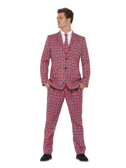 """38.5"""" Red and Blue Union Jack Suit Men Adult Halloween Costume - XL - IMAGE 1"""