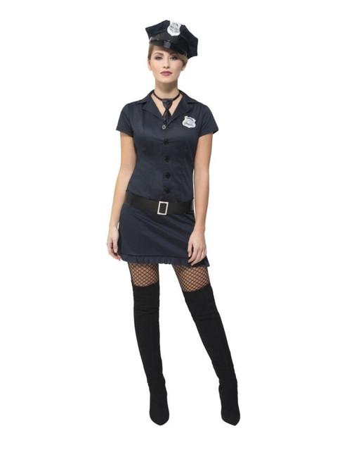 "49"" Black Fever Naughty Cop Women Adult Halloween Costume - Medium - IMAGE 1"