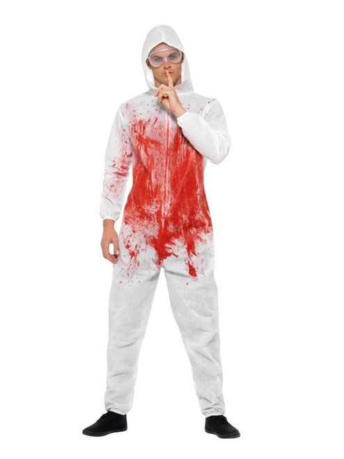 """40"""" White and Red Bloody Forensic Overall Men Adult Halloween Costume - Medium - IMAGE 1"""