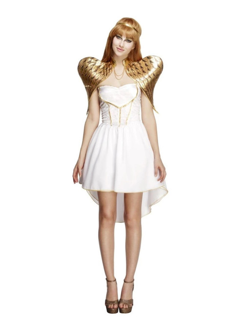 """48"""" White and Gold Fever Glamorous Angel Women Adult Halloween Costume - Small - IMAGE 1"""