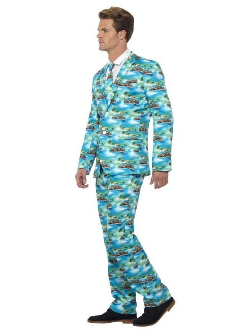 "38.5"" Aqua Blue and Green Aloha Suit Men Adult Halloween Costume - XL - IMAGE 1"