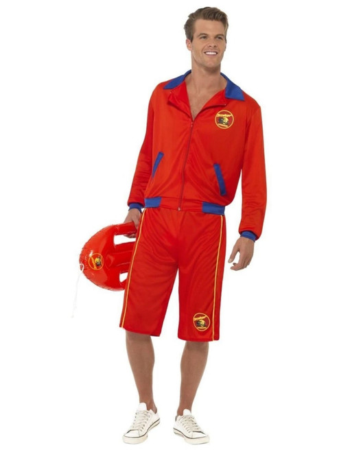 "38"" Red and Blue Baywatch Beach Lifeguard Men Adult Halloween Costume - Medium - IMAGE 1"
