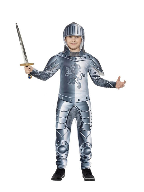 """40"""" Gray and Silver Deluxe Armoured Knight Boy Child Halloween Costume - Large - IMAGE 1"""