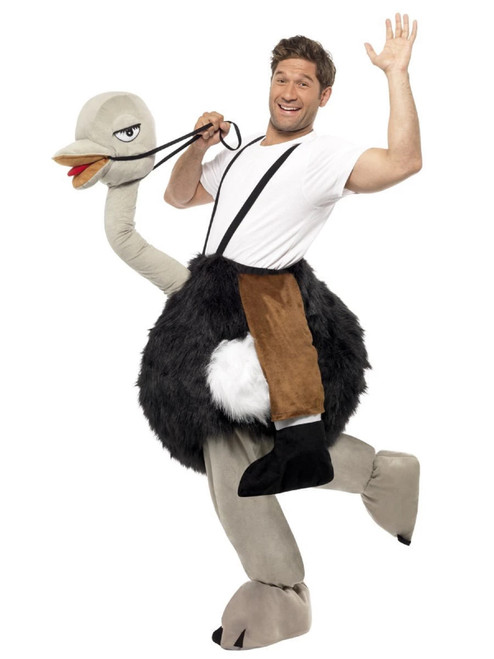 """46"""" Black and Gray Ostrich with Fake Hanging Legs Men Adult Halloween Costume - IMAGE 1"""
