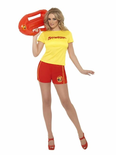 "49"" Yellow and Red Baywatch Beach Women Adult Halloween Costume - Large - IMAGE 1"