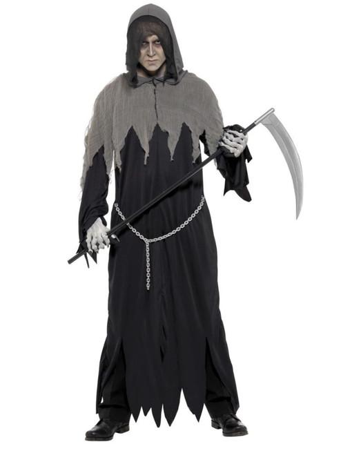 "40"" Black and Gray Grim Reaper Robe Men Adult Halloween Costume - Medium - IMAGE 1"