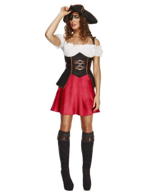 "49"" Black and Red Fever Pirate Wench Women Adult Halloween Costume - Medium - IMAGE 1"