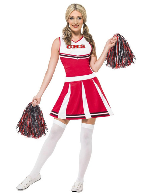 """42"""" Red and White Cheerleader Women Adult Halloween Costume - Small - IMAGE 1"""